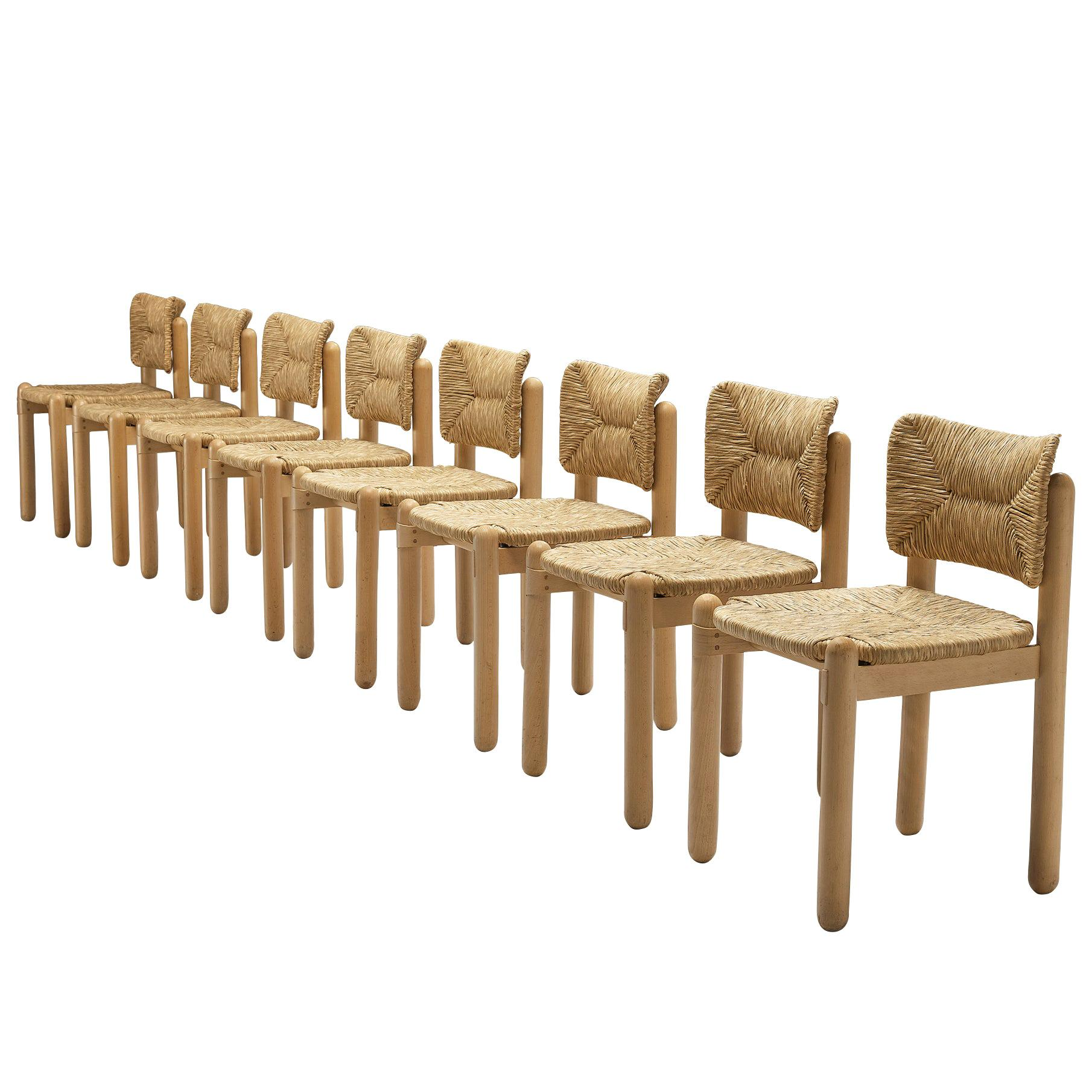 Set of Eight Italian Dining Chairs in Beech and Straw