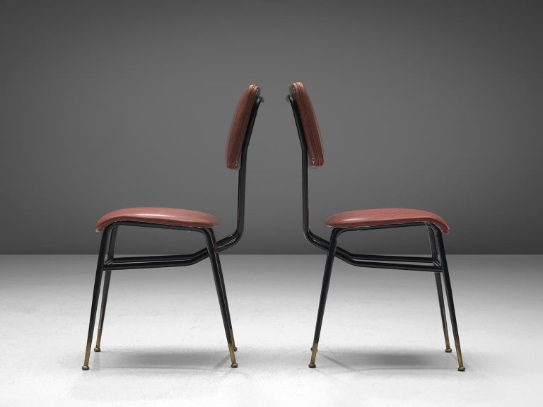 Mid-20th Century Set of Eight Italian Dining Chairs with Brass Feet For Sale