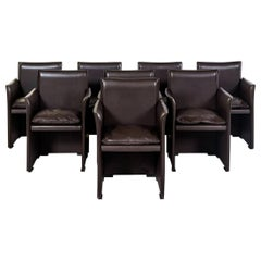 Set of Eight Italian Leather Armchairs Mario Bellini Cassina