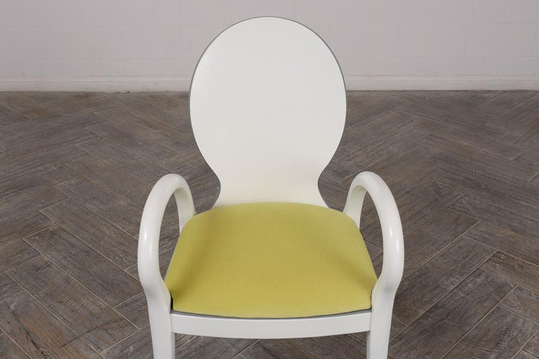Carved Set of Eight Italian Modern Dining Chairs For Sale