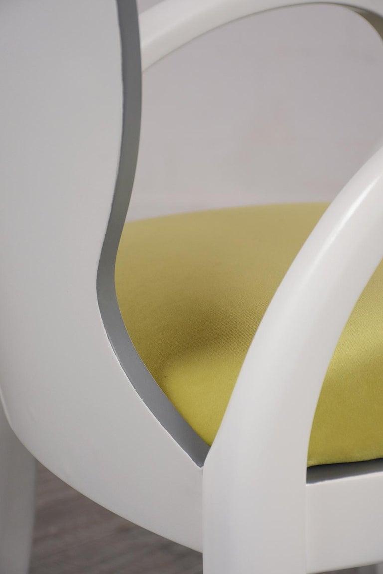 Velvet Set of Eight Italian Modern Dining Chairs For Sale