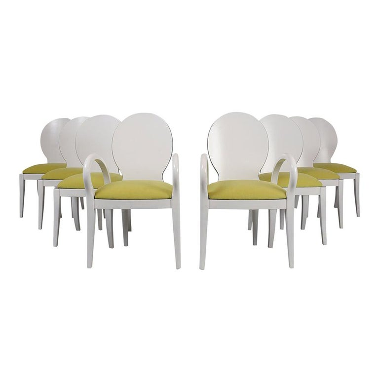 Set of Eight Italian Modern Dining Chairs For Sale
