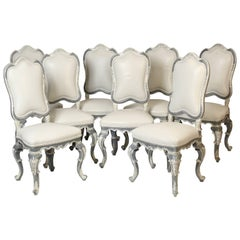 Set of Eight Italian Painted Louis XV Style Dining Room Chairs