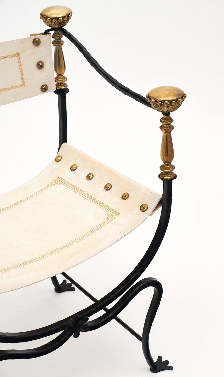 Brass Set of Eight Italian Renaissance Style Armchairs For Sale