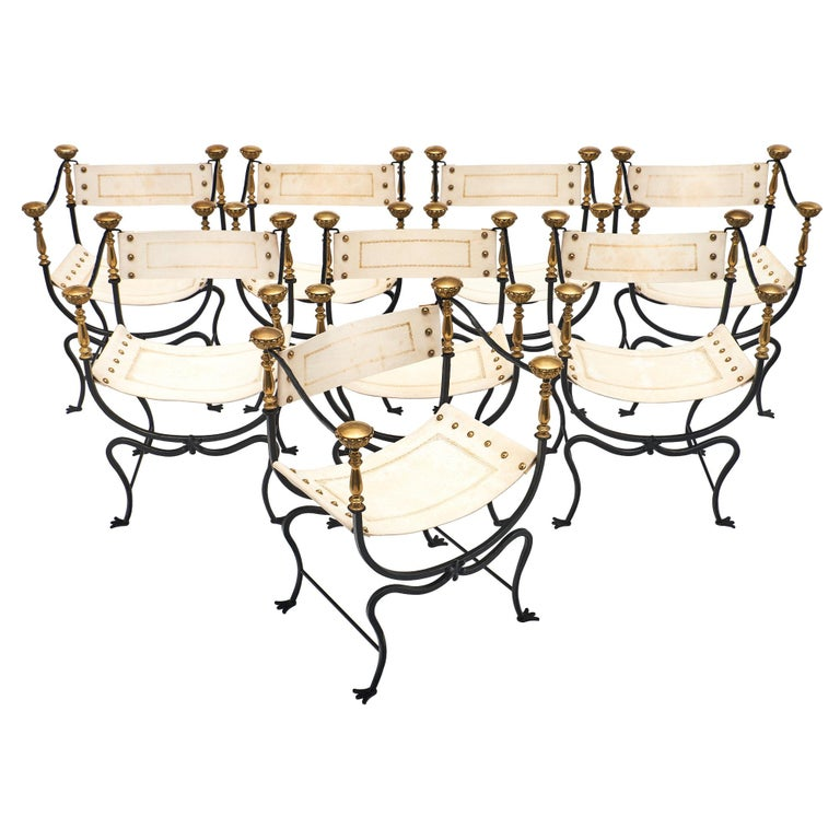 Set of Eight Italian Renaissance Style Armchairs For Sale