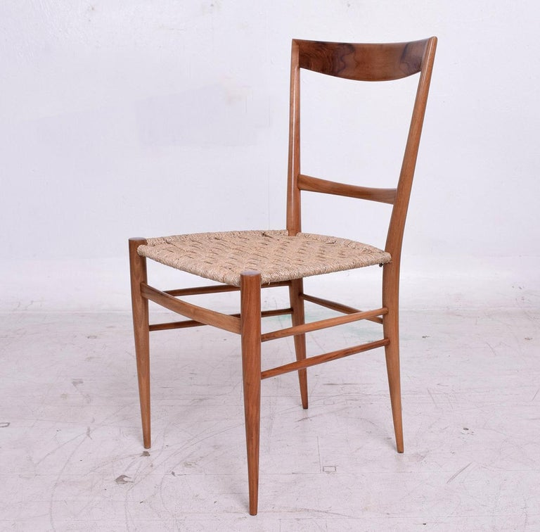 Mid-Century Modern Set of Eight Italian Superleggera Dining Chairs Attributed to Gio Ponti For Sale