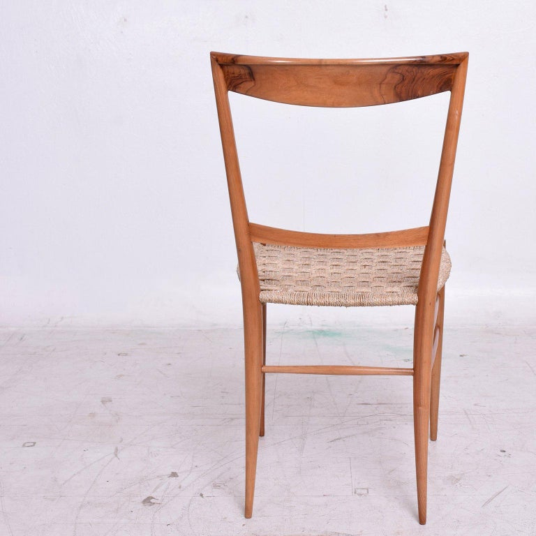 Seagrass Set of Eight Italian Superleggera Dining Chairs Attributed to Gio Ponti For Sale