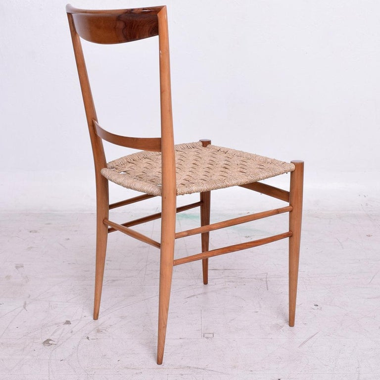 Set of Eight Italian Superleggera Dining Chairs Attributed to Gio Ponti For Sale 1
