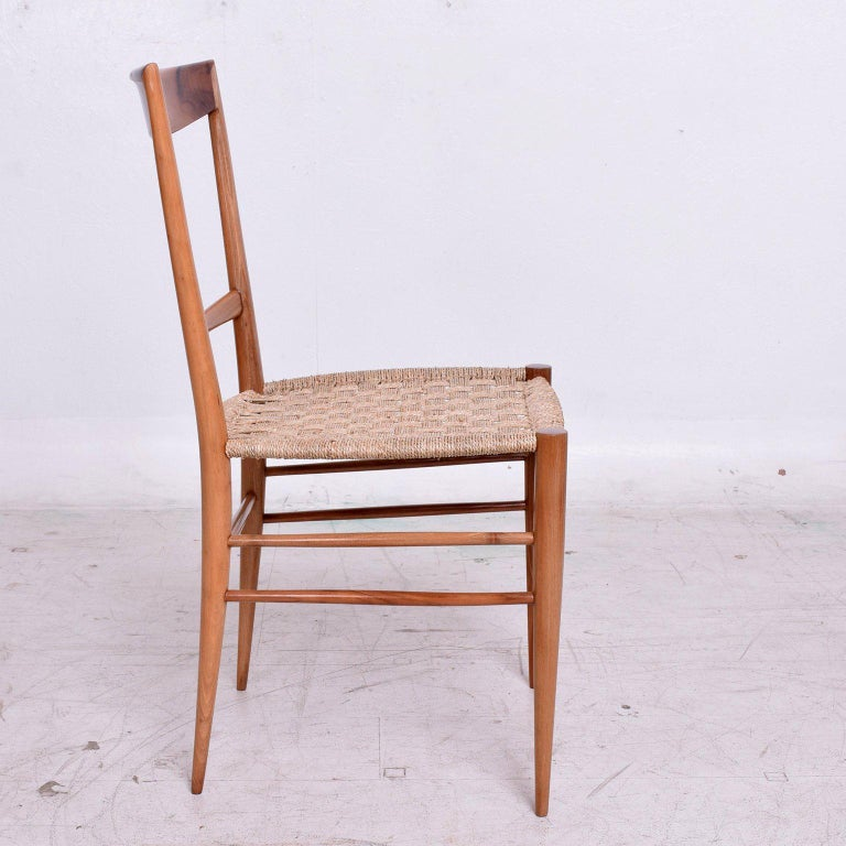 Set of Eight Italian Superleggera Dining Chairs Attributed to Gio Ponti For Sale 2