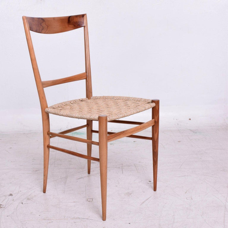 Set of Eight Italian Superleggera Dining Chairs Attributed to Gio Ponti For Sale 3