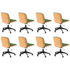 Set of Eight Italian Swivel Chairs by Ico Parisi for MIM Roma, 1960s