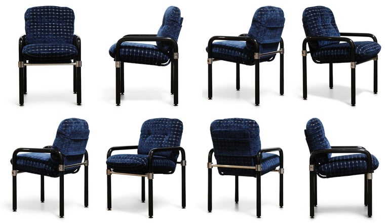 A set of eight (8) near mint condition chairs that are equally pieces of Post-Modern art, in the Pipe Line Series, this set in a limited edition run of