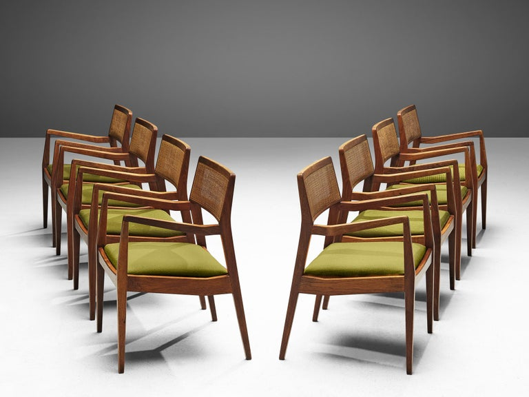 Jens Risom, 'Playboy' armchairs, cane, fabric, walnut, United States, design 1958, production 1960s.