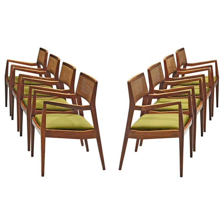 "Set of Eight Jens Risom ""Playboy"" Armchairs in Walnut For Sale"