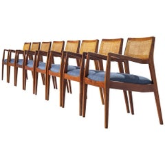 "Set of Eight Jens Risom ""Playboy"" Armchairs in Walnut"