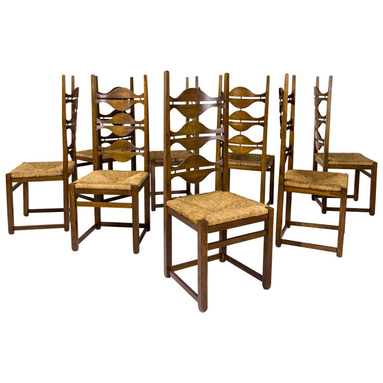 Set of Eight Jordi Vilanova Dining Chairs, circa 1950, Spain For Sale