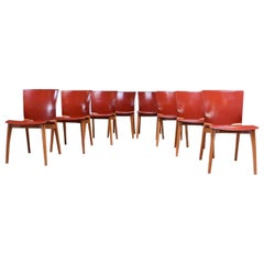 Set of Eight Josep Llusca 'Cos' Chairs for Cassina in Red Leather and Beechwood