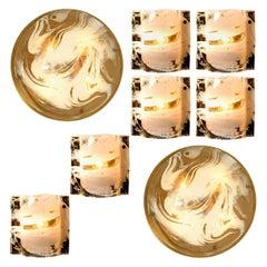 Set of Eight J.T. Kalmar Murano Glass Brass Light Fixtures, Austria, 1960