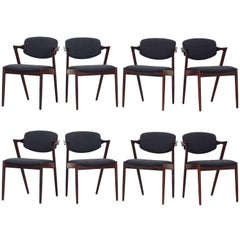 Set of 12 Kai Kristiansen Dining Chairs Armchairs, S. Andersen New Upholstery