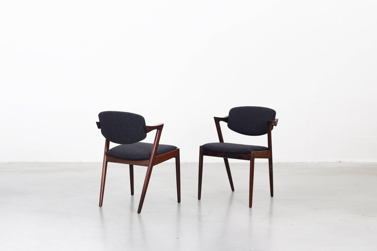 Danish Set of eight Kai Kristiansen Dining Chairs Armchairs, S. Andersen New Upholstery For Sale