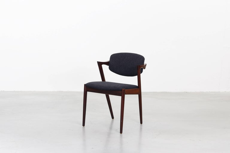 Set of eight Kai Kristiansen Dining Chairs Armchairs, S. Andersen New Upholstery In Excellent Condition For Sale In Berlin, DE