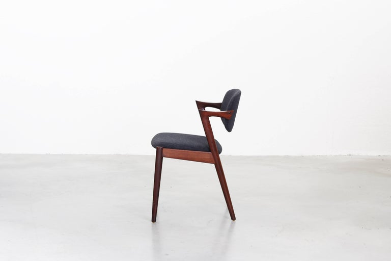 20th Century Set of eight Kai Kristiansen Dining Chairs Armchairs, S. Andersen New Upholstery For Sale