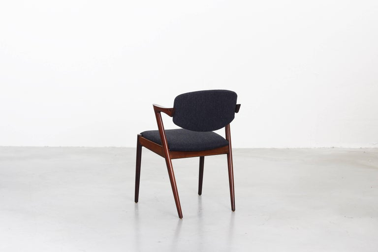 Wood Set of eight Kai Kristiansen Dining Chairs Armchairs, S. Andersen New Upholstery For Sale