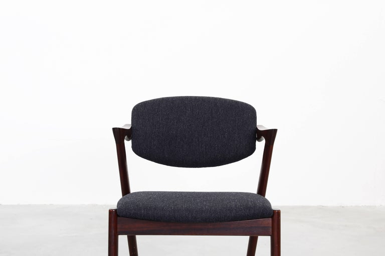 Set of eight Kai Kristiansen Dining Chairs Armchairs, S. Andersen New Upholstery For Sale 1