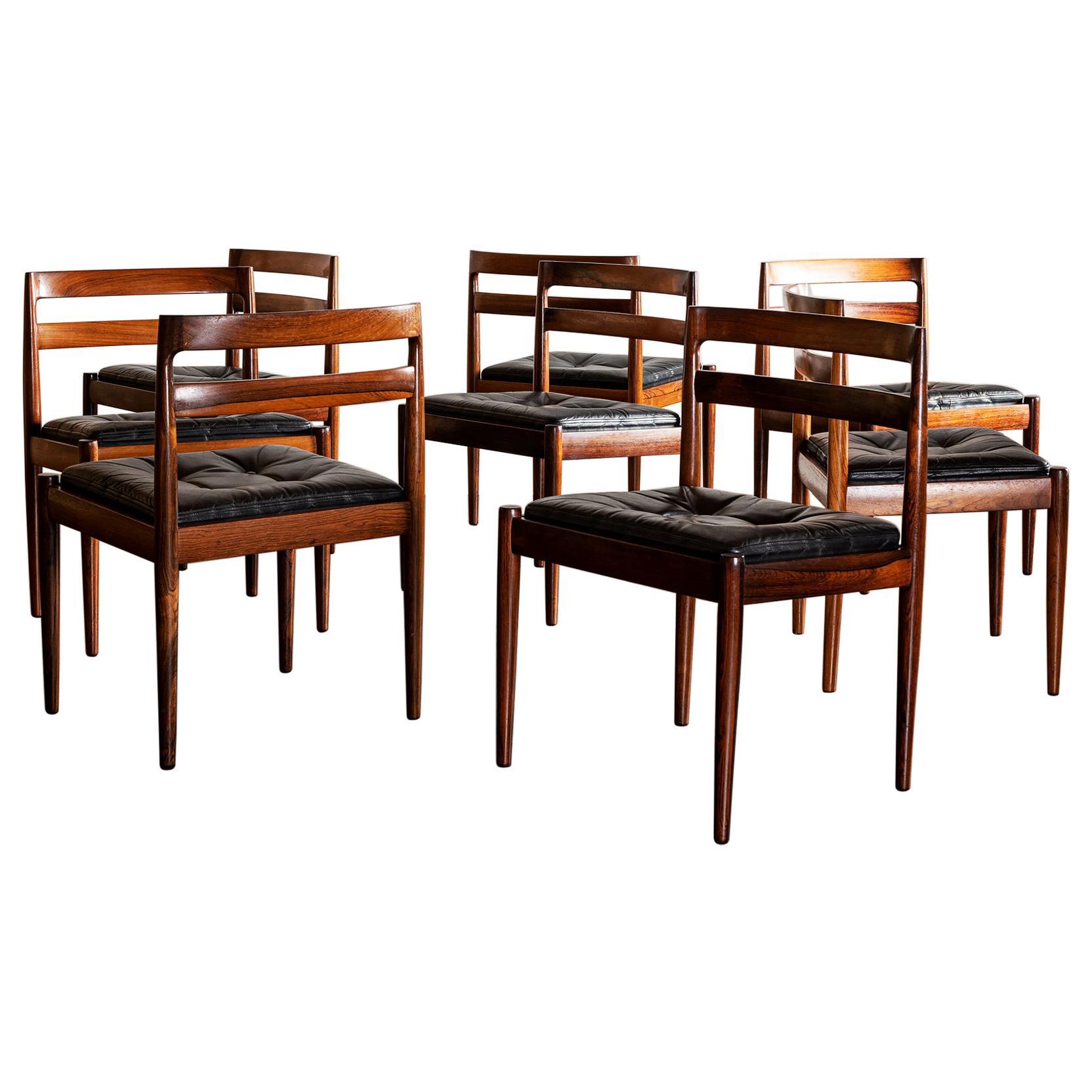 Set of Eight Kai Kristiansen Model 301 Dining Chairs in Rosewood, Denmark, 1960