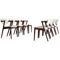Set of Eight Kai Kristiansen Model 42 Rosewood Dining Chairs Danish Midcentury