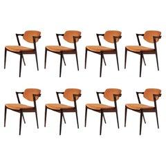 Set of Eight Kai Kristiansen Restored Rosewood Dining Chairs - Custom Upholstery
