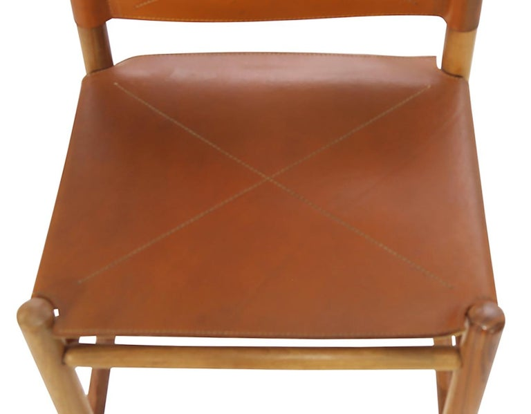 Leather Set of Eight Kentucky Chairs by Carlo Scarpa for Bernini For Sale