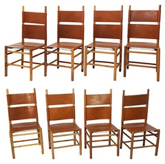 Set of Eight Kentucky Chairs by Carlo Scarpa for Bernini