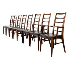 Set of Eight Koefoeds Hornslet Rosewood Dining Chairs, 1950s