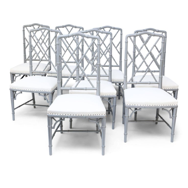 Set of Eight-Light Gray Lacquered Dining Chairs For Sale 8