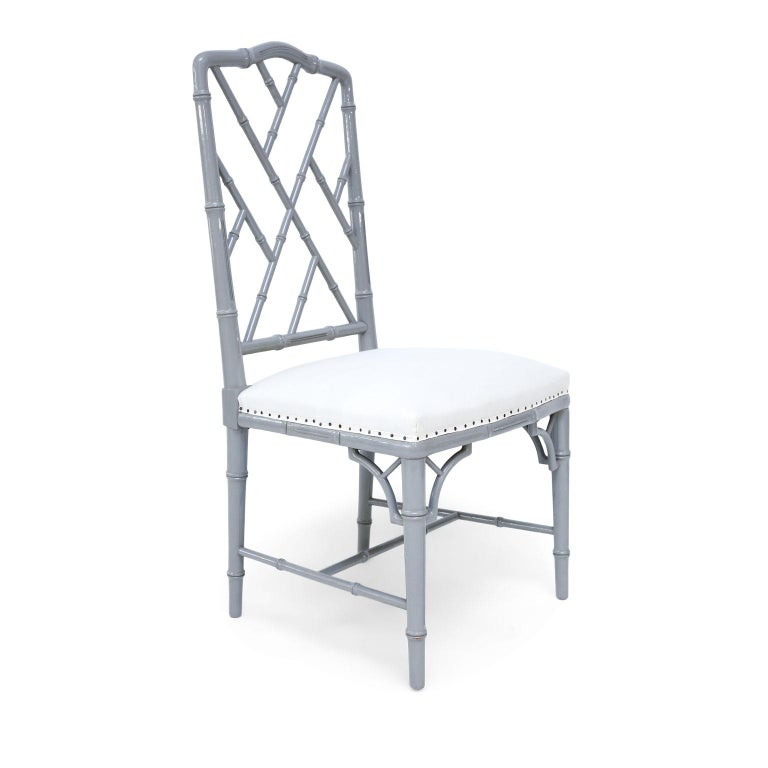 French Set of Eight-Light Gray Lacquered Dining Chairs For Sale