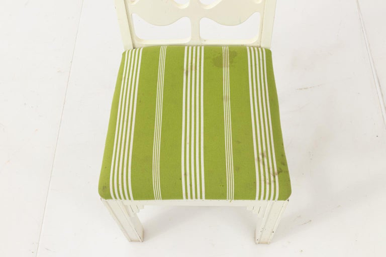 Upholstery Set of Eight Lacquered Dining Chairs For Sale