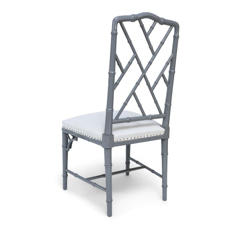 Carved Set of Eight-Light Gray Lacquered Dining Chairs For Sale