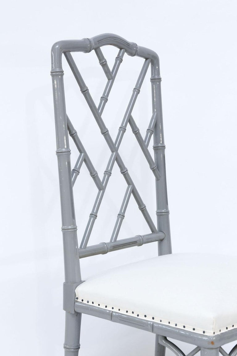 Set of Eight-Light Gray Lacquered Dining Chairs In Good Condition For Sale In Houston, TX