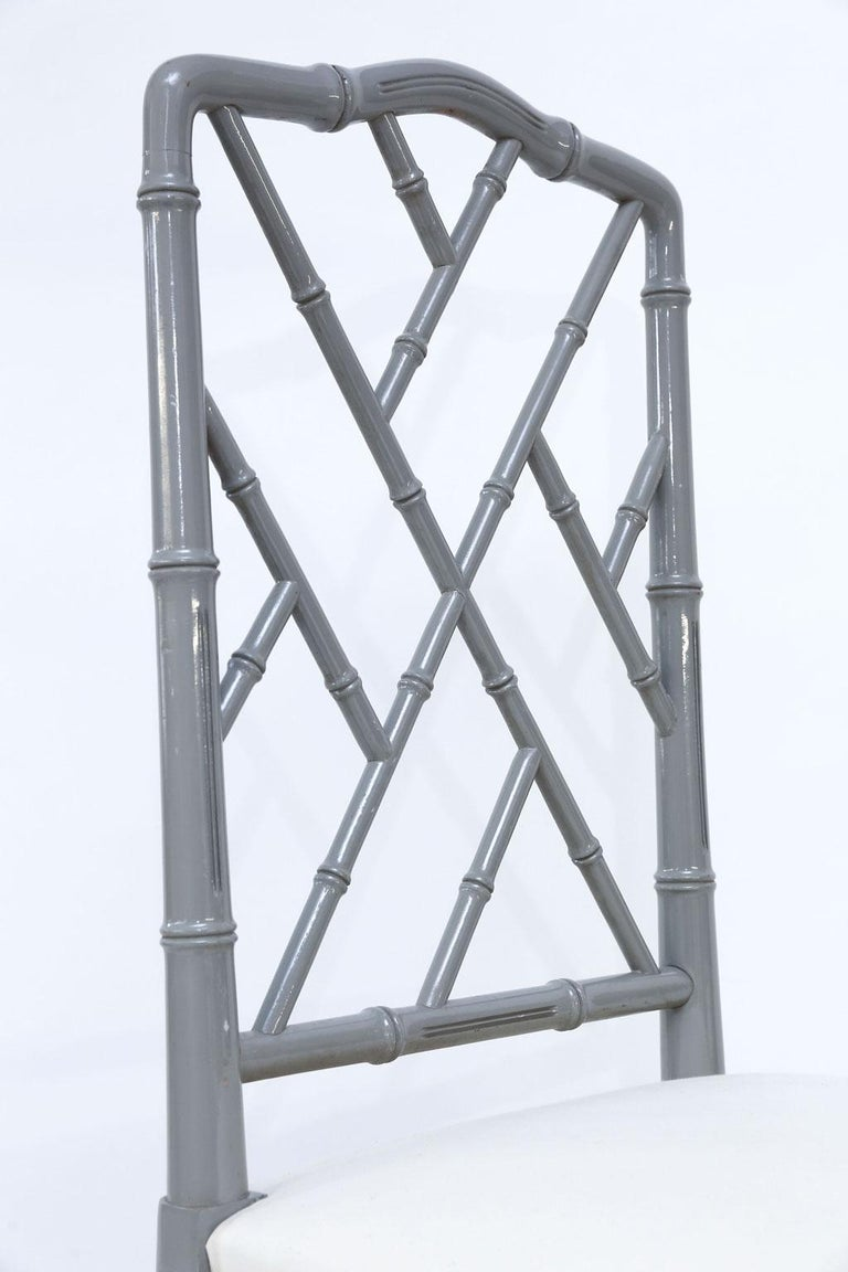Late 20th Century Set of Eight-Light Gray Lacquered Dining Chairs For Sale