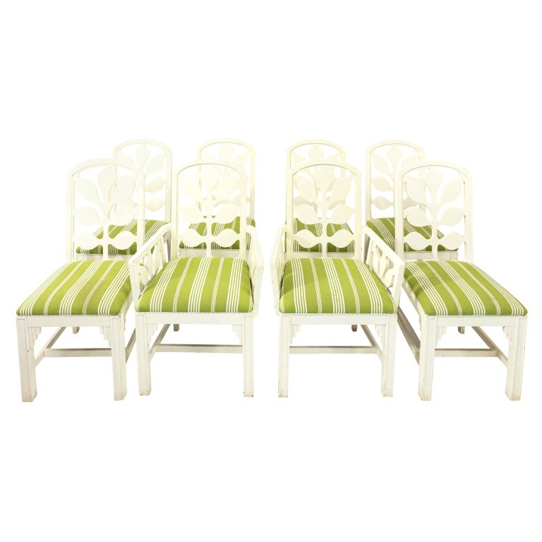Set of Eight Lacquered Dining Chairs For Sale