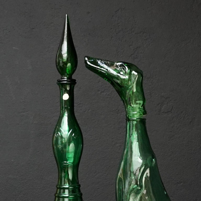Pressed Set of Eight Large Vintage Amber and Green Glass Empoli 'Genie' Decanters For Sale