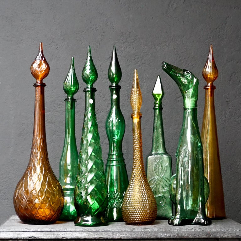 Set of Eight Large Vintage Amber and Green Glass Empoli 'Genie' Decanters For Sale 1