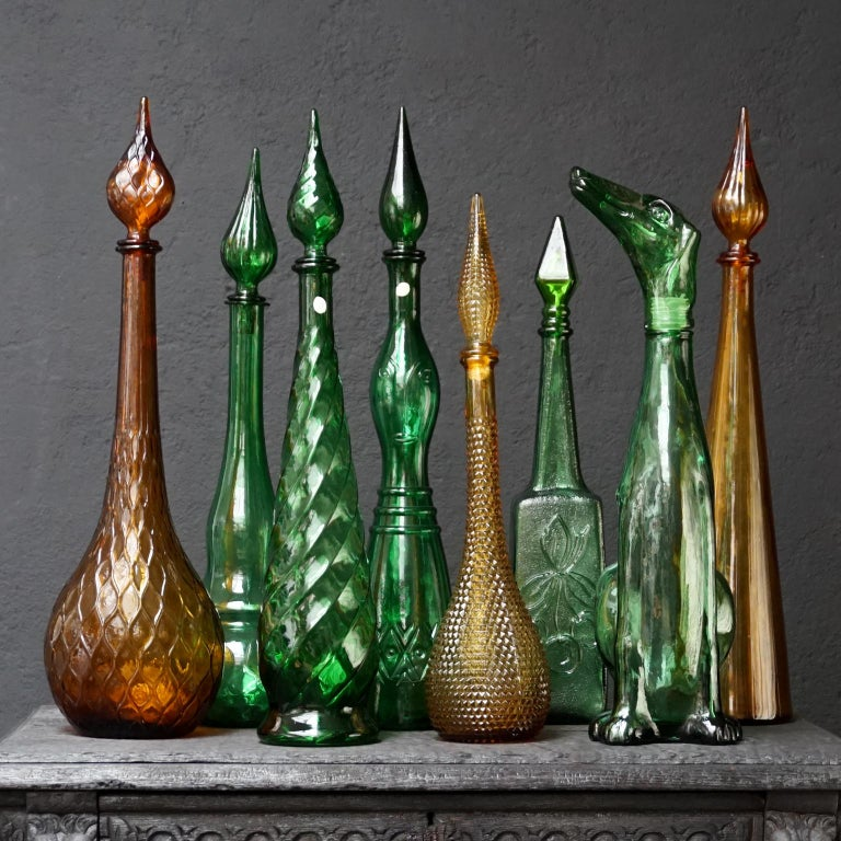 Set of Eight Large Vintage Amber and Green Glass Empoli 'Genie' Decanters For Sale 2