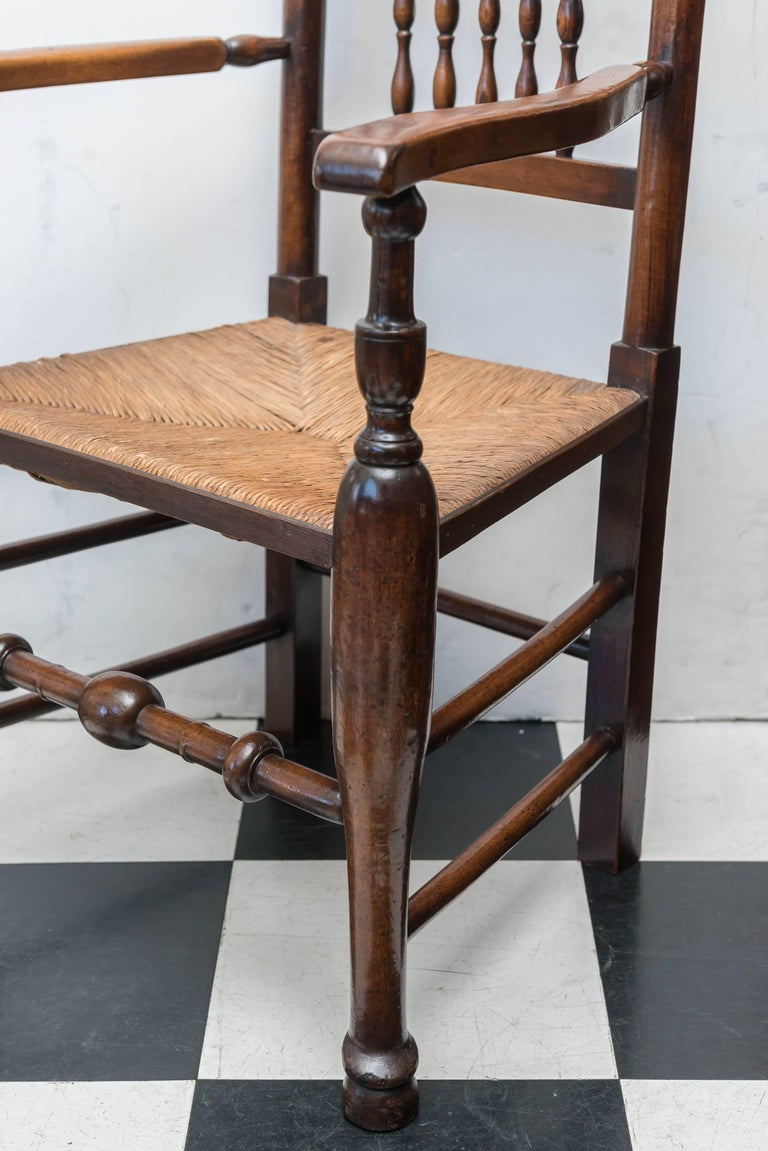 Carved Set of Eight Late 18th-Early 19th Century English Ladder Back, Rush Seat, Chairs For Sale