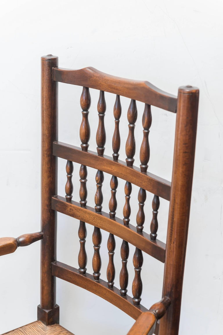 Set of Eight Late 18th-Early 19th Century English Ladder Back, Rush Seat, Chairs In Good Condition For Sale In San Francisco, CA