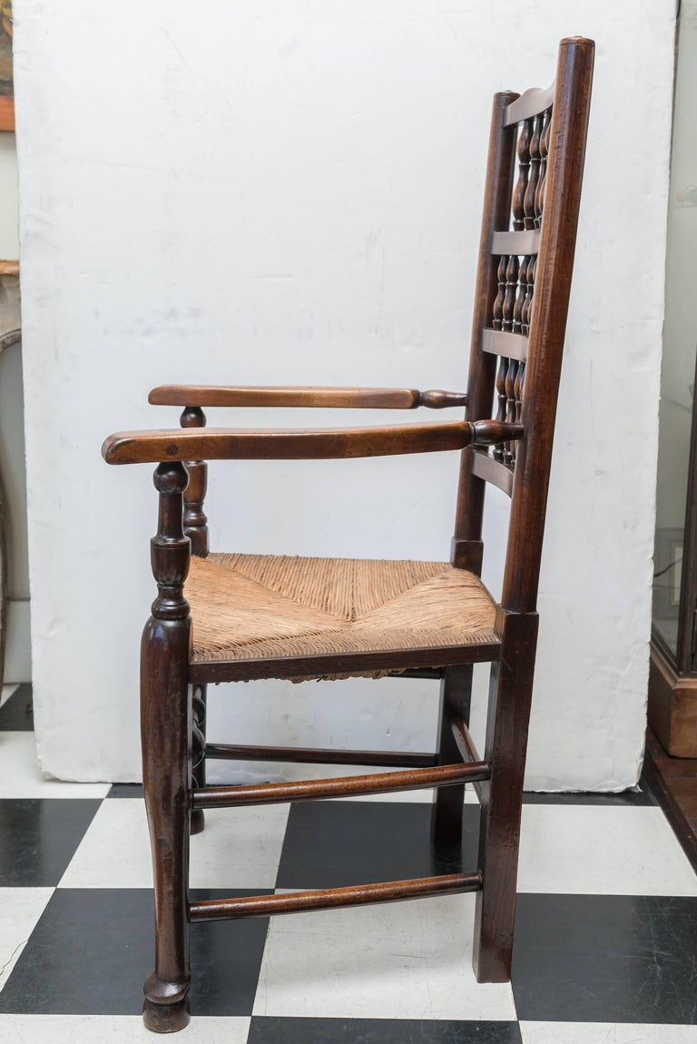 Set of Eight Late 18th-Early 19th Century English Ladder Back, Rush Seat, Chairs For Sale 3