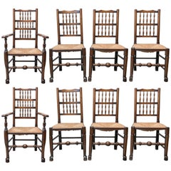 Set of Eight Late 18th-Early 19th Century English Ladder Back, Rush Seat, Chairs