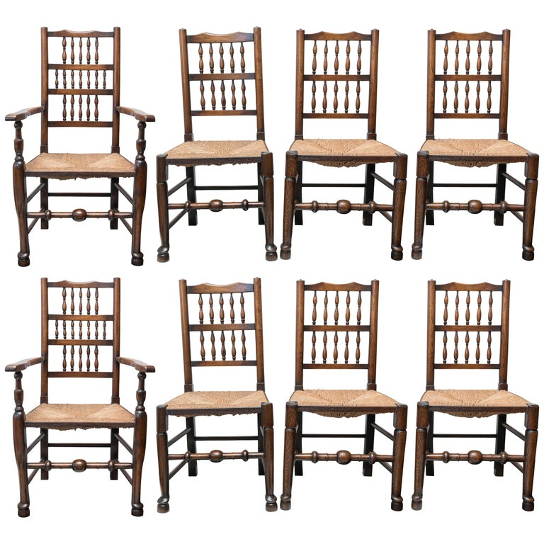 Set of Eight Late 18th-Early 19th Century English Ladder Back, Rush Seat, Chairs For Sale