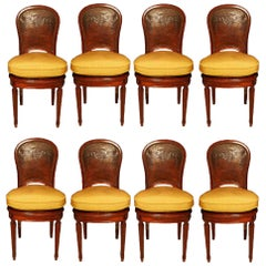 Set of Eight Late 19th Century Louis XVI St. Mahogany and Leather Chairs